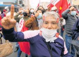 ?? Photos / AP ?? Supporters of Pedro Castillo (top right) took to the streets amid fears rival Keiko Fujimori (bottom) was attempting to overturn election results.