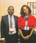??  ?? Journalist Maman Lawan Sani from Niger stands with another international journalist.