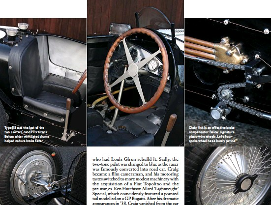 ??  ?? Type 59 was the last of the two-seater Grand Prix titans. Below: wider ventilated drums helped reduce brake fade Chain link is an effective brake compensator. Below: signature piano-wire wheels. Left: fourspoke wheel has a lovely patina