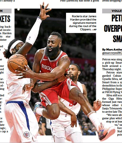?? —AP ?? Rockets star James Harden provided the signature moment during the rout of the Clippers.