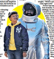 ??  ?? Inspired: Gregory Porter, right, and below filming the space-themed music video for recent single Concorde with his seven-year-old son Demyan