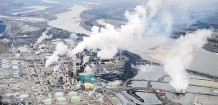 ?? FILES ?? An aerial view of Suncor's oilsands extraction facility near Fort McMurray. Partial upgrading would turn bitumen into pipeline-ready heavy oil.
