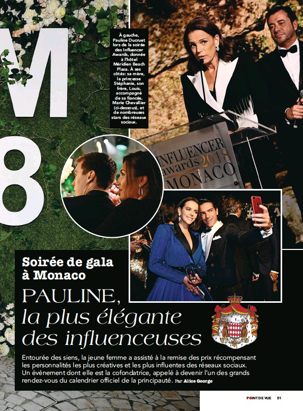 ??  ?? À gauche, Pauline Ducruet lors de la soirée des Influencer Awards, donnée à l'hôtel Méridien Beach Plaza. À ses côtés : sa mère, la princesse Stéphanie, son frère, Louis, accompagné de sa fiancée, Marie Chevallier (ci-dessous), et de nombreuses stars des réseaux sociaux.