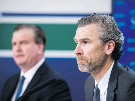 ?? JIMMY JEONG/THE CANADIAN PRESS/FILES ?? Jim Benning was hired as the Vancouver Canucks' GM in 2014 by then-new president of hockey operations Trevor Linden. They are overseeing a team with young talent that includes forwards Brock Boeser and Elias Pettersson and goalie Thatcher Demko.
