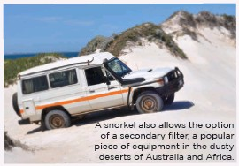 ??  ?? A snorkel also al­lows the op­tion of a se­condary fil­ter, a pop­u­lar piece of equip­ment in the dusty deserts of Aus­tralia and Africa.