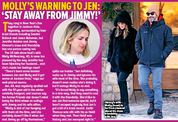 ??  ?? Jimmy's wife Molly (inset) is far from pleased about his close friendship with Jen.