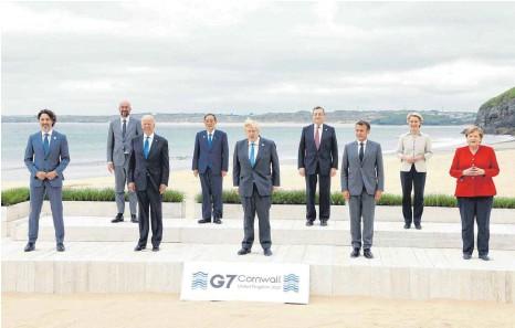 ?? FOTO: KYODO NEWS/IMAGO IMAGES ?? Die G7 der westlichen Wirtschaftsmächte präsentiert sich bei ihrem Gipfel in Cornwall wie neugeboren, nachdem sie in der Ära Trump kurz vor der Spaltung stand.