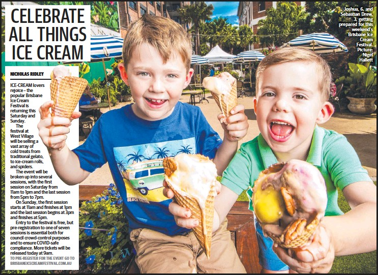 ??  ?? Joshua, 6, and Sebastian Drew, 3, getting prepared for this weekend's Brisbane Ice Cream Festival. Picture: Nigel Hallett