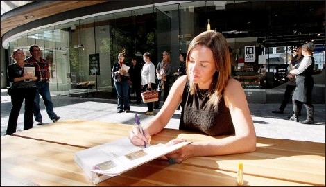 ??  ?? Laura Calder, star of the Food Network's French Food at Home, recently signed copies of her new cookbook outside Cook Culture in Victoria.