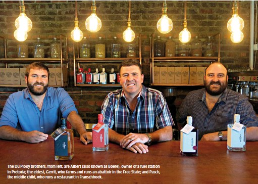 ??  ?? The Du Plooy brothers, from left, are Albert (also known as Boere), owner of a fuel station in Pretoria; the eldest, Gerrit, who farms and runs an abattoir in the Free State; and Pasch, the middle child, who runs a restaurant in Franschhoek.