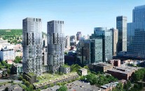 ?? ARTIST'S RENDERING COURTESY OF MAGIL CONSTRUCTION ?? YUL includes two 39-storey highrise towers, 15 townhouses, plus a restored heritage building, all of which share a private courtyard in downtown Montreal.