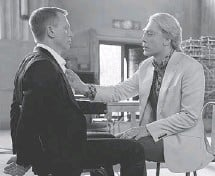 ??  ?? Daniel Craig, left, and Javier Bardem star in the James Bond film Skyfall, where the villain Silva ties Bond to a chair and purrs seductively at the hero's predicament.