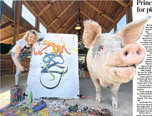 ?? Picture: Supplied ?? The red hair is a dead giveaway in this abstract interpretation of Prince Harry as seen through the eyes of a pig. Pigcasso, posing here with her mentor, Joanne Lefson, has made R50,000 from the sale of the portrait to a fan in Spain. Lefson runs a nonprofit in Franschhoek that promotes the cause of farm animals.