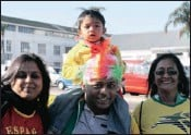 ?? PICTURES: NOELENE BARBEAU/SIBONELO NGCOBO ?? From left, Seema, Vic, three-year-old Bhavesh and Pushpa Naicker, of Avondale in Durban, supported the Spanish team.