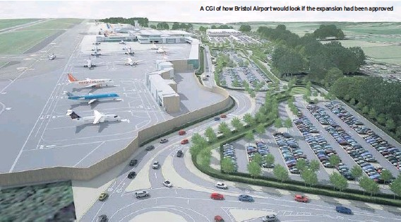 ??  ?? A CGI of how Bristol Airport would look if the expansion had been approved