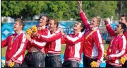 ??  ?? Members of the Canadian rugby team celebrate their gold medal during the playing of the national anthem in Tlaquepaque, Mexico, Sunday.