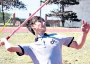 ??  ?? Alwyn Vorster in action in the boys javelin event