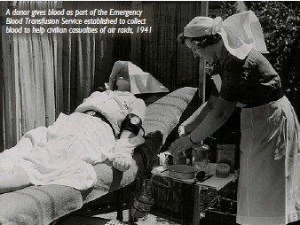 ??  ?? A donor gives blood as part of the Emergency Blood Transfusion Service established to collect blood to help civilian casualties of air raids, 1941
