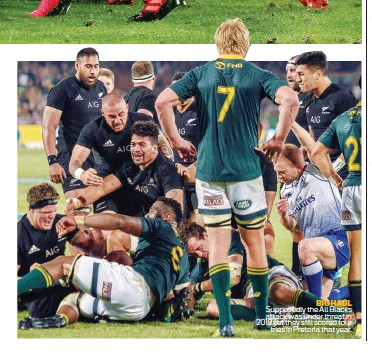 ??  ?? BIG HAUL Supposedly the All Blacks attack was under threat in 2018 yet they still scored four tries in Pretoria that year.
