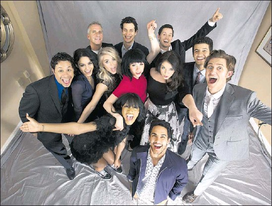 """?? Kirk McKoy Los Angeles Times ?? """"GREASE: LIVE"""" team members, back row from left, executive producer Marc Platt, director Thomas Kail and actor Andrew Call; second row, from left, actors David Del Rio, Vanessa Hudgens, Julianne Hough, Carly Rae Jepsen, Kayla Parker, Jordan Fisher and Aaron Tveit; and front row, Keke Palmer and Carlos PenaVega."""