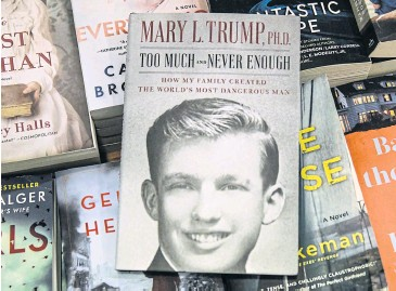 ??  ?? IT'S A SIZZLER: Mary Trump's best-sell­ing book about US Pres­i­dent Don­ald Trump at a book store in July.