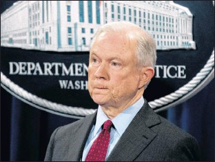 ?? AP PHOTO ?? U.S. Attorney General Jeff Sessions attends a news conference to announce an international cybercrime enforcement action in Washington Thursday.