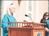 ?? Marie Corriveau ?? First Selectman Jayme Stevenson issued a proclamation at Darien Town Hall for April as Sexual Assault Awareness Month, joined by leaders and officials from many neighboring towns.