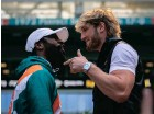 """?? EVA MARIE ZCATEGUI AFP ?? FLOYD """"Money"""" Mayweather and Logan Paul faceoff during a press conference at Hard Rock Stadium, in Miami Gardens, his week. The former world welterweight king will face off against Youtube personality Paul in an exhibition bout on June 6. 