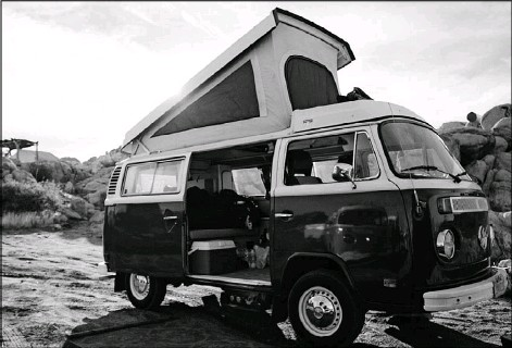 ?? Eric Fallecker ?? Vintage Surfari Wagons VW vans can seat up to five people and sleep up to four in two berths.