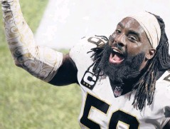 ?? JOHN BAZEMORE/AP ?? Saints outside linebacker Demario Davis leaves the field after a game against the Falcons on Dec. 6 in Atlanta.
