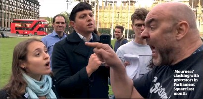 ?? PHOTO: ISRAEL ADVOCACY MOVEMENT ?? 'Mourners' clashing with protestors in Parliament Square last month