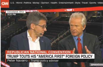 ?? CNN ?? Political scientist Ian Bremmer (left) appears on CNN with Peter Navarro, Donald Trump's senior policy adviser, at the Republican National Convention.