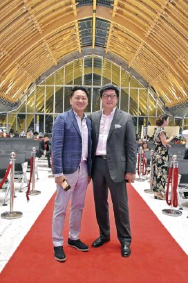 ??  ?? Megawide Chairman and CEO Edgar Saavedra and Integrated Design Associates (IDA) Founder and Principal Winston Shu during the inauguration of MCIA Terminal 2 on 7 June 2018. IDA created the architectural design of Terminal 2, including its iconic roof arches made of glulam.