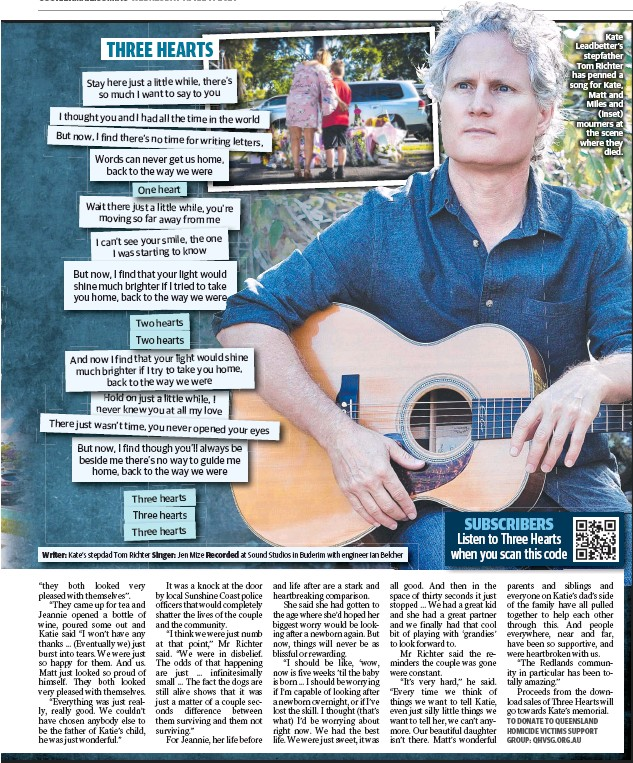 ??  ?? Kate Leadbetter's stepfather Tom Richter has penned a song for Kate, Matt and Miles and (inset) mourners at the scene where they died.