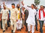 ?? PTI ?? Congress president Rahul Gandhi with Andhra Pradesh Chief Minister N. Chandrababu Naidu during a rally at Kodad in Suryapet, yesterday.
