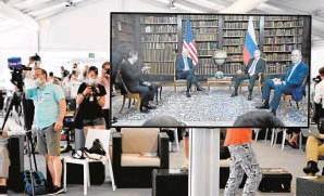 ?? // AFP ?? Sala de prensa durante la cumbre Biden-Putin en Ginebra