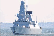 ?? REUTERS ?? British Royal Navy's Type 45 destroyer HMS Defender arrives at the Black Sea port of Odessa, Ukraine on June 18.