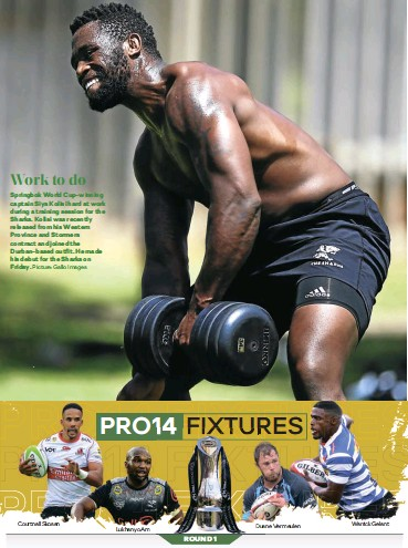 ?? Picture: Gallo Images ?? Work to do Springbok World Cup-winning captain Siya Kolisi hard at work during a training session for the Sharks. Kolisi was recently released from his Western Province and Stormers contract and joined the Durban-based outfit. He made his debut for the Sharks on Friday.