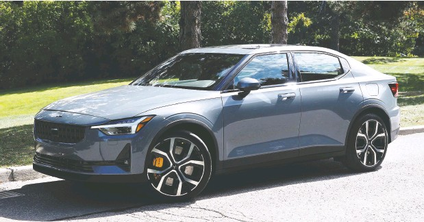 ?? Photos: Chris Balcerak / Driving. ca ?? The 2021 Polestar 2 has a range comparable to Tesla's Model 3 and an interior that is minimalist without coming across as spartan.