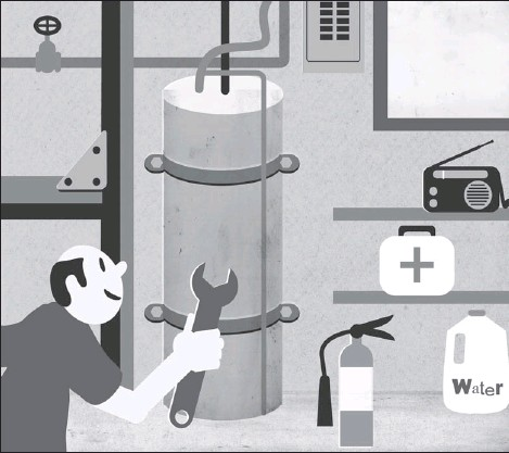 ??  ?? Tethering your hot water tank to a wall can limit loss of water and resulting water damage to your home.