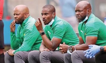??   GAVIN BARKER BackpagePix ?? SUNDOWNS' co-coaches Manqoba Mngqithi, Rhulani Mokwena and Steve Komphela.