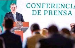 ??  ?? ANUNCIO. Durante la conferencia mañanera en Palacio Nacional, el canciller manifestó que esperará los tiempos para participar en la sucesión.