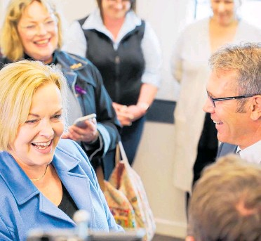 ??  ?? National Party leader Judith Collins hits the campaign trail in Blenheim.