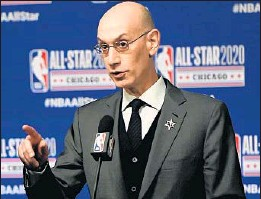 ?? STACY REVERE/TNS ?? NBA Commissioner Adam Silver speaks to the media on Feb. 15 in Chicago.