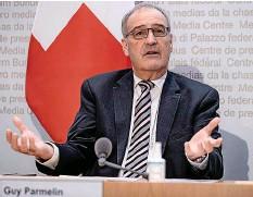 ??  ?? Wirtschaftsminister Parmelin hat den Entwurf präsentiert.