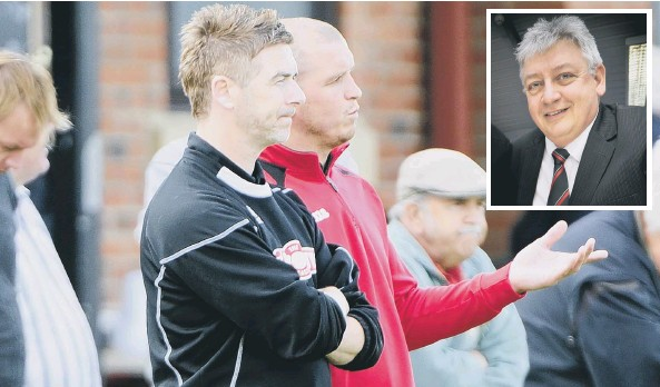 ??  ?? Scarborough Athletic chairman Dave Holland, pictured inset above, has thrown his full backing behind joint-managers Bryan Hughes and Paul Foot, above, despite Boro's poor run of form