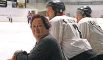 ?? PHOTO: SANDY EGGLESTON ?? Tribute . . . Tania Henare, who organised a memorial ice hockey game for her daughter Nicola — who died in a car crash last year — watches the game yesterday with sons Jorden (left) and Ethan.