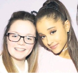??  ?? Georgina with singer Ariana Grande, who she had gone to see in concert on the night of the attack
