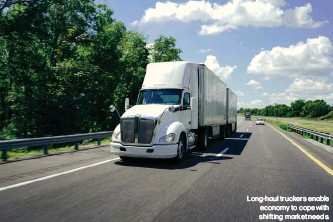 ??  ?? Long-haul truckers enable economy to cope with shifting market needs.