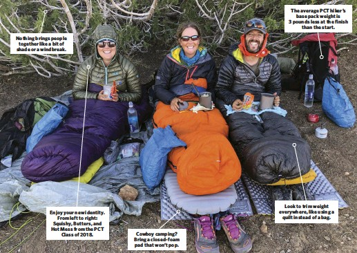 ??  ?? Nothing brings people together like a bit of shade or a windbreak. Enjoy your new identity. From left to right: Squishy, Butters, and Hot Mess from the PCT Class of 2018. Cowboy camping? Bring a closed-foam pad that won't pop. The average PCT hiker's base pack weight is 3 pounds less at the finish than the start. Look to trim weight everywhere, like using a quilt instead of a bag.